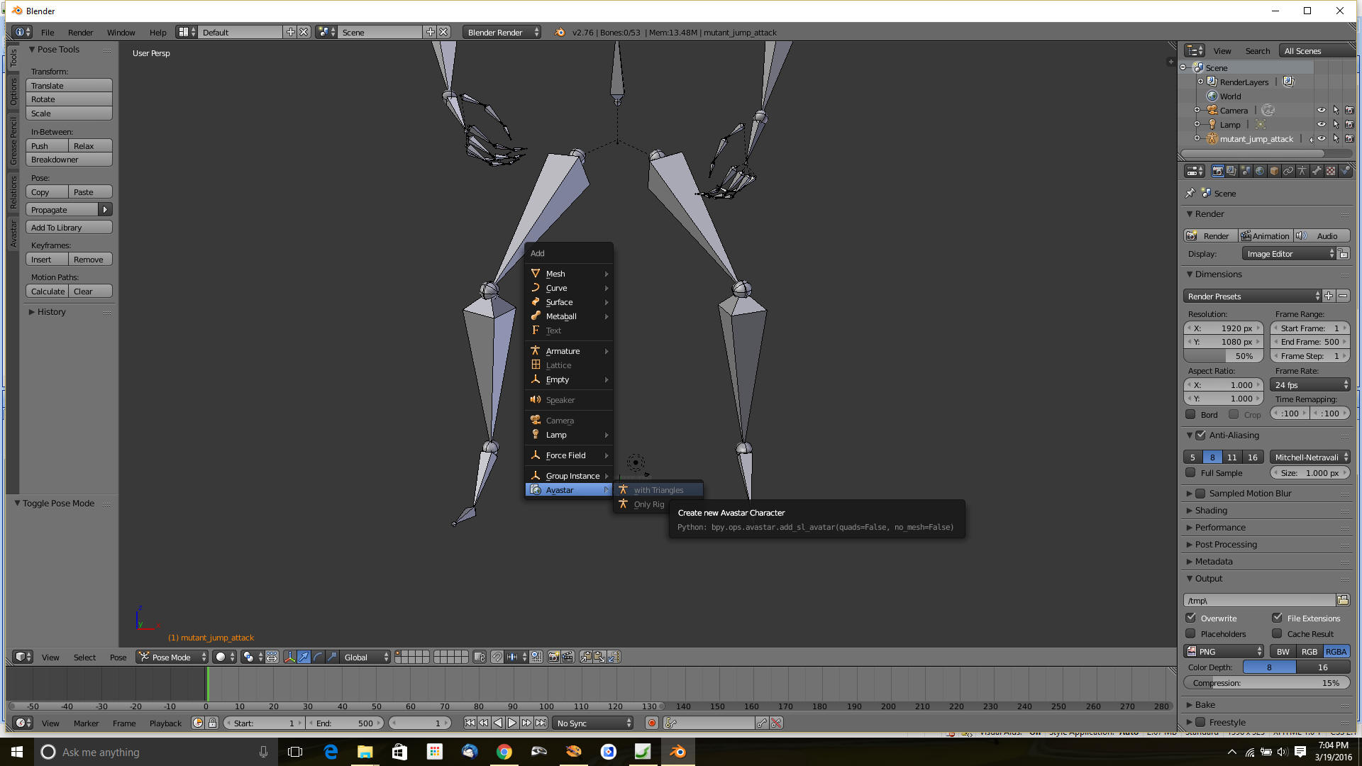BVH Animation Converting for OpenSim and Second Life