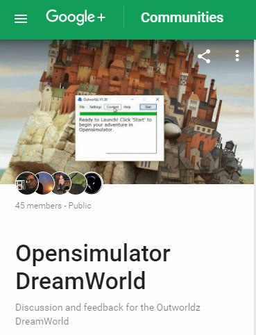 Opensimulator Dreamworld Google Plus Community